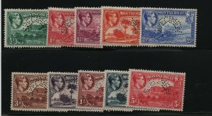 Montserrat SG #101s - #110s Very Fine Never Hinged With Curved Perforated Specim