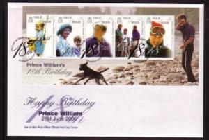 Isle of Man Sc 865 2000 Pr William 18 yrs stamp set FDC