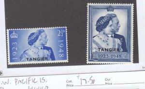 BR. MOROCCO-TANGIER # 525-526  VF-MH  1948 SILVER WEDDING O/PRINT ISSUE CV $23