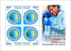 Stamps of 2020. TOGO FIGHT AGAINST THE COVID-19 PANDEMIC.