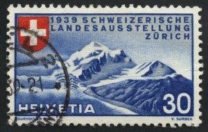 01887 Switzerland Scott #252 Zurich Mountains used, handstamp cancel