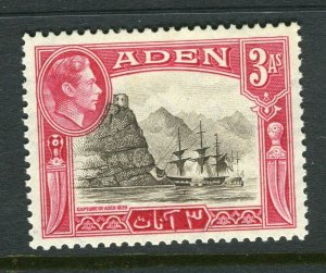 ADEN; 1938 early GVI issue fine Mint hinged Shade of 3a. value