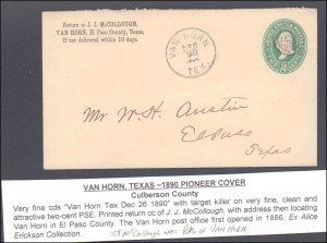 Culberson County Van Horn ( Postal History ), 1890