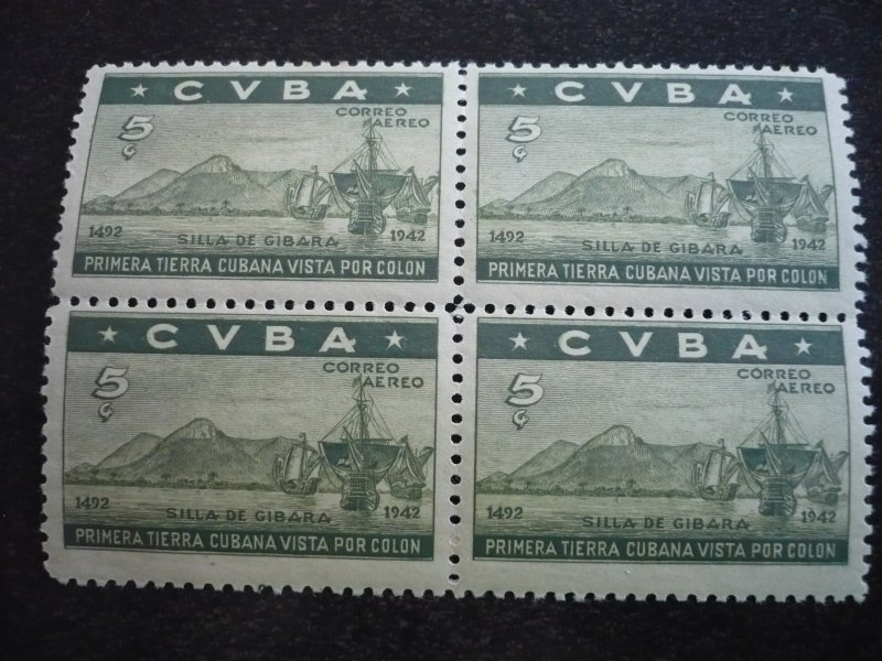 Stamps - Cuba - Scott# 387-391,C36-C37 - Mint Hinged Set of 7 Stamps in Blocks