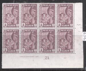 Malaya Selangor SG 122 Plate Block of Eight MNH (8dkz)