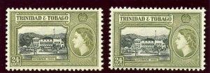Trinidad & Tobago 1953 QEII 24c in two listed shades superb MNH. SG 275, 275a.