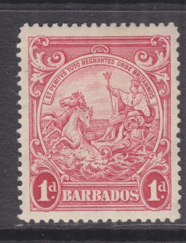 BARBADOS, 1938 Badge, perf. 14, 1d. Scarlet, lhm., toning as usual.