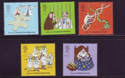 Great Britain Sc 2103-7 Genetics stamp set mint NH