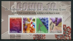 ST. VINCENT GREN PANDEMIC A TRIBUTE TO THOSE ON THE FRONT LINE SHEET MINT NH