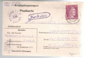 1944 Germany POW Camp Airmail Cover Stalag 2B Prisoner of War Lafayette IN USA