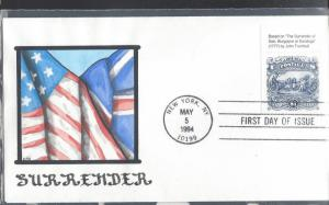 United States, 2590, $1 Surrender of Burgoyne by Trumbull. FDC, Used