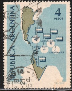 ARGENTINA 758, 4P MAP. USED. VF. (308)