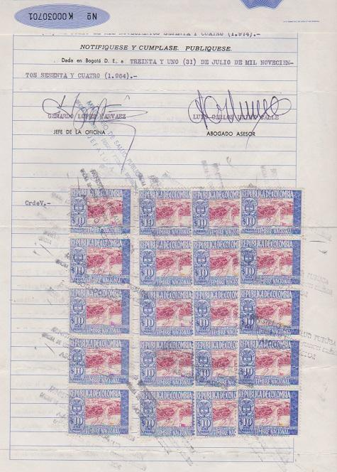 COLOMBIA STAMPS USE ON A CONTRACT LOT#419