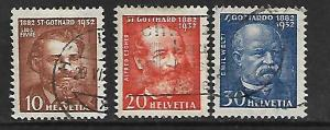 SWITZERLAND, 216-218, USED,COMPLETION OF THE ST. GOTTHARD TUNNEL