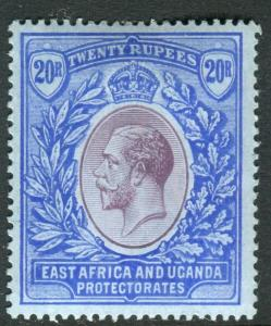 EAST AFRICA & UGANDA-1918 20r Purple & Blue Blue.  A mounted mint example Sg 60