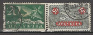 COLLECTION LOT # 3788 SWITZERLAND 2 AIR MAIL STAMPS 1923+ CV+$23