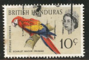 British Honduras Scott 172 used QE2 Macaw Bird stamp toned