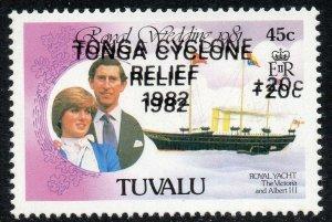 1982 Tuvalu Sg 188a Tonga Cyclone Secours Surimpression Double non Montés Mint