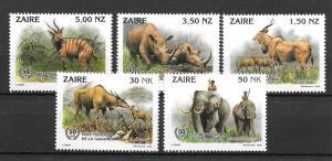 ### ZAIRE MNH SET VERY NICE SC#1403-1407 NATIONAL GAME PARK SCV$8.85