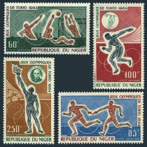 Niger C45-C48,MNH.Michel 79-82. Olympics Tokyo-1964.Coubertin,Water polo,Discus,