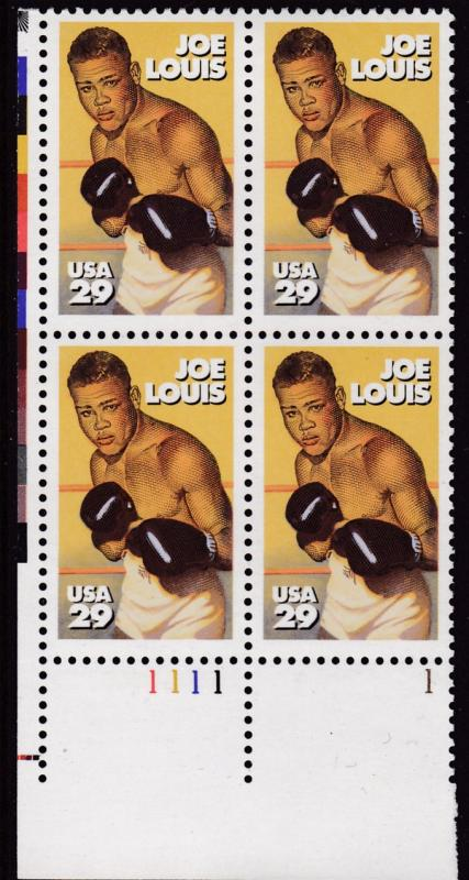 United States 1994 29c Joe Louis Boxing Champion Plate Number Block VF/NH