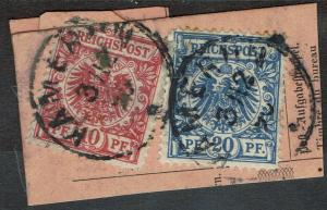 GERMAN CAMEROON 1887 FORERUNNERS GERMAN EAGLE 10PF AND 20PF POSTMARKS