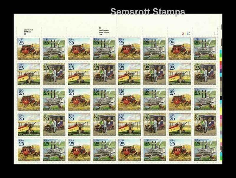 2434-2437 UPU Mail Delivery.  MNH 25¢ Sheet of 40.     (hcofwn4)