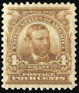 US Sc 303 Mint Never Hinged Original Gum 4¢ Grant Brown VF