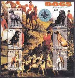 Tadjikistan, 2001 Russian Local. Dogs sheet of 6 with Scout Hologram. ^