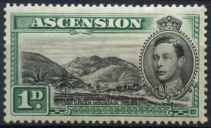 Ascension 1938-53 SG#39, 1d Black And Green KGVI P13.5 MH Cat £45
