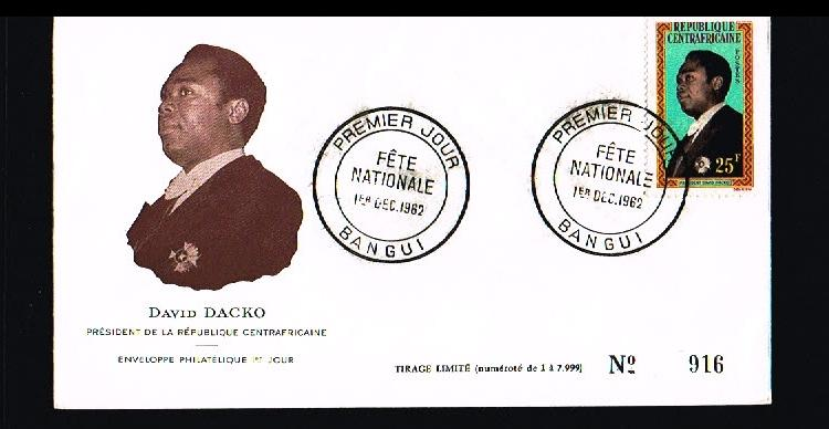 1962 - Central Africa FDC/Cover - Famous People - Presidents - David Dacko [B...