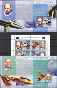 Congo 2006 Trains Union Europe W. Churchill R. Schuman sheet + 2 S/S MNH