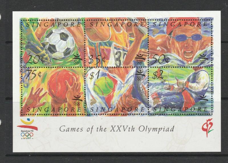 Singapore 1992 Olympic Games MS UM/MNH SG MS687