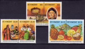 St. Vincent 1986 Sc# 936-938 Christopher Columbus Ships Set (3 pairs) MNH