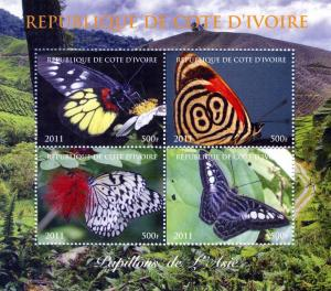 Butterflies of ASIA Sheet (4) Perforated Mint (NH)