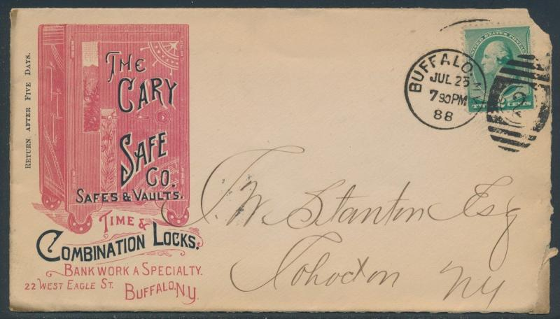1888 #213 ON LARGE ADVT PINK & BLACK RARE COVER THE CARY SAFE Co BR3816 HSAM
