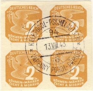 BÖHMEN u. MAHREN 1943 KALKPODOL-PSCHELAUTSCH TPO n°94a bilingual CDS on 4xMi.117