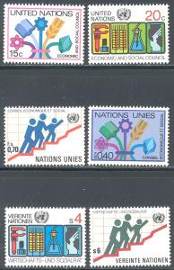 UN/US 341-342, UN/Switz 96-97, UN/Austria 15-16 MNH - Economic Council