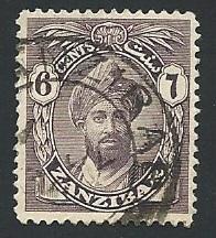 Zanzibar Scott #187 Sultan Khalifa bin Harub w/serifs Used