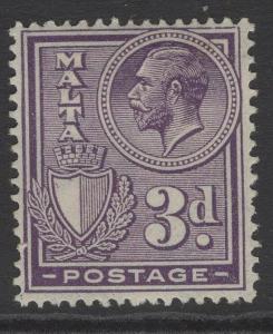 MALTA SG162a 1927 3d VIOLET MTD MINT