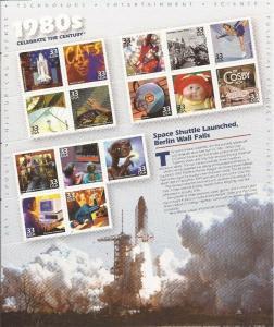 USA 2000 Celebrate the Century 1980s - 15 Stamp Sheet #3190