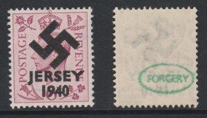 Jersey 1940 Swastika opt on Great Britain KG6 6d purple