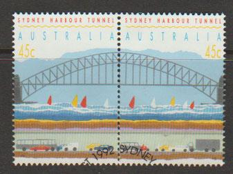 Australia SG 1375ba se-tenant pair perf 15½ VFU  with First Day cancel