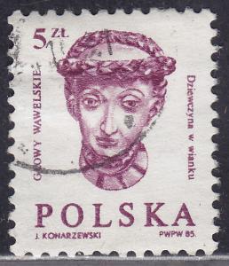 Poland 2628A Wawel Castle Wooden Woman's Head 5.00zł 1985