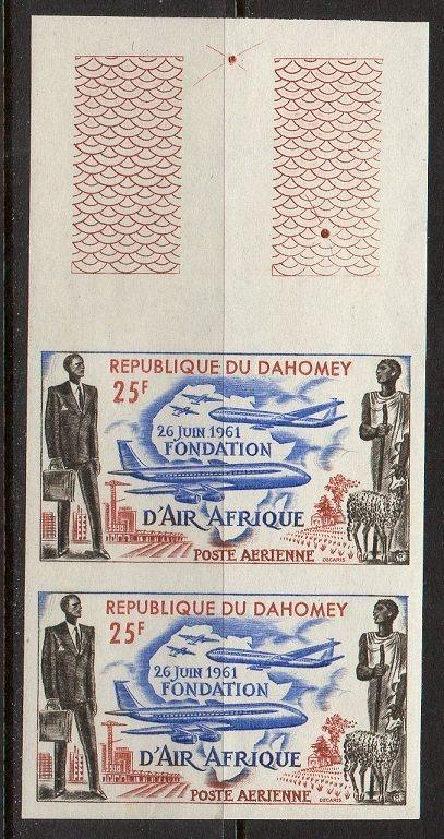 Dahomey 1962 Air Afrique Imperf Pairs VF MNH (C17)