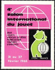 FRANCE LYON SALON INTERNATIONALE DU JOUET 21-27 FEV 1965 CINDERELLA POSTER LABEL
