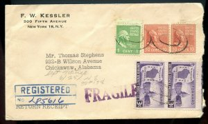 U.S. Scott 815 (2) and 804 Prexies and Scott 957 on Registered Ret. Rcpt. Cover