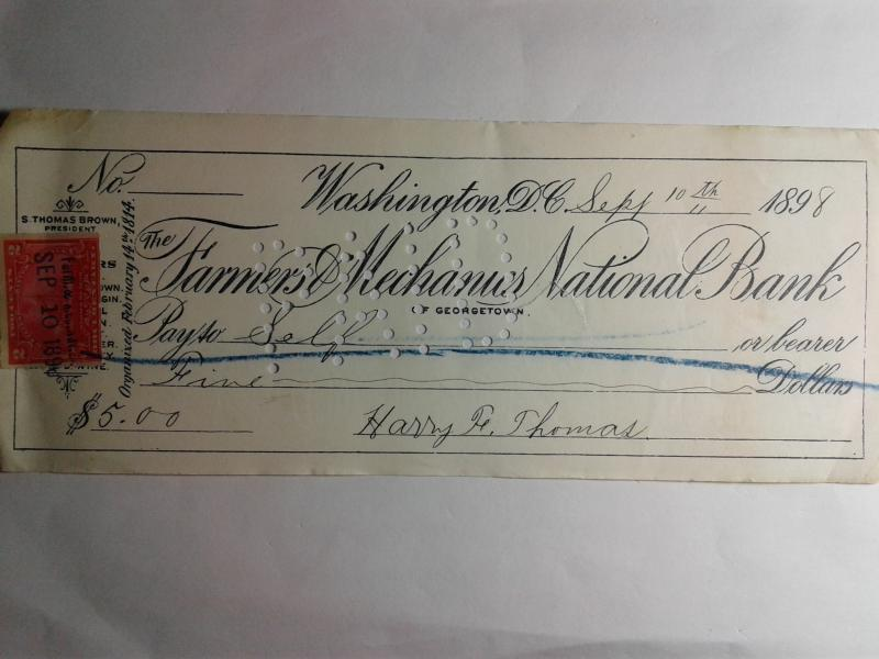 SCOTT # R 164 DOCUMENTARY REVENUE STAMP ON FARMERS NATIONAL BANK CHECK 1898