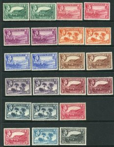 MONTSERRAT-1938-48  A lightly mounted mint set to £1 including both Perf 13x14 t