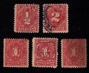 US-SCOTT J61,J61B,J62,J68 Used Postage Due (Lot Of 5) F-VF